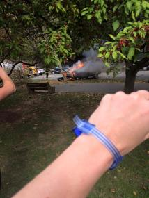 Car on fire BlueWristband selfie